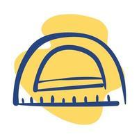 ícone de estilo de linha de suprimentos de escola de régua de ângulos vetor