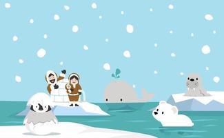 paisagem ártica com pessoas e animais inuítes vetor
