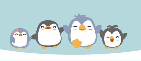 desenho animado feliz família de pinguins vetor