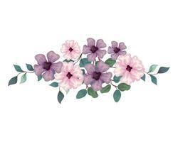 flores de cor rosa e lilás com galhos e folhas, em fundo branco