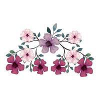 flores de cor roxa, rosa e lilás com galhos e folhas, em fundo branco
