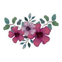 flores de cor roxa e lilás com ramos e folhas, em fundo branco