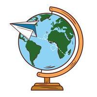 papel de avião com material escolar do mundo planeta Terra vetor