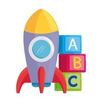 brinquedos infantis, foguete com cubos de alfabeto em fundo branco vetor