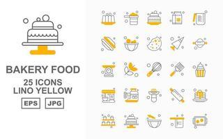 Pacote de 25 ícones premium para padaria lino amarelo vetor