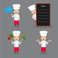 personagem chef fazendo várias atividades vetor