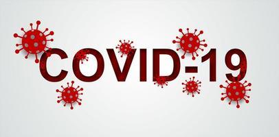coronavírus, vírus covid-19 e texto. conceito de saúde médica. estilo de arte em papel. vetor