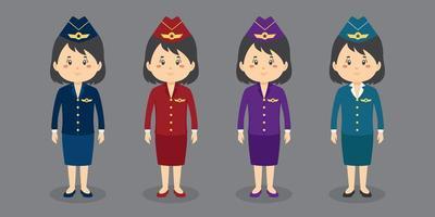 conjunto de caracteres de comissária de bordo vetor