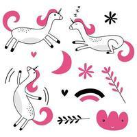 conjunto de animais engraçados coloridos com sonhos de lua, nuvem, estrela e unicórnio dormindo no estilo escandinavo. vetor