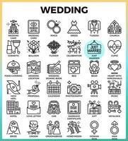 ícones de casamento e amor vetor