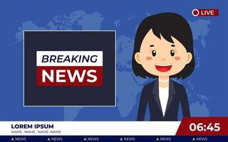 estúdio de notícias de tv com notícias de última hora da emissora vetor