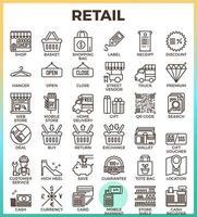 ícones de contorno perfeito de pixel de loja de varejo vetor