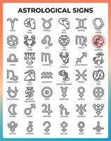 ícones de linha do conceito de signo astrológico vetor