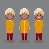 personagem indiano com várias expressões vetor