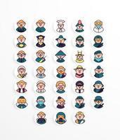 pacote de ícones de profissão estilo linear vetor