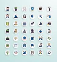 pacote de ícones de negócios estilo de cor linear vetor