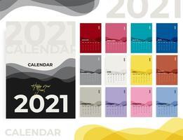 calendário de mesa mensal do ano 2021 vetor