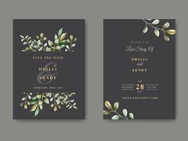 modelo de convite de casamento floral lindo e elegante vetor