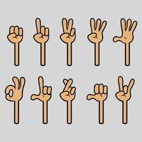 coleção de gestos de mão de desenho de quatro dedos vetor
