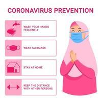 mulher muçulmana dá dicas para evitar a propagação do vírus da gripe vetor