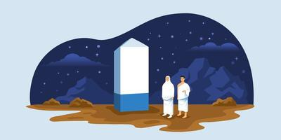 peregrinos do hajj no pináculo do monte arafat vetor
