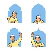 personagem de desenho animado muçulmano masculino espiando pela janela da mesquita vetor