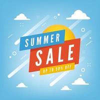 venda de verão com até 50% de desconto no banner de promoção com fundo de céu azul e nuvens. vetor