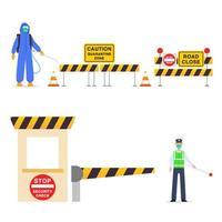 bloqueio de estrada de elementos gráficos da zona de quarentena vetor