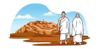 peregrinos muçulmanos com cenário de fundo do monte arafat vetor