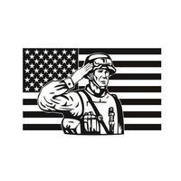 Soldado americano saudando banner star spangled bandeira dos EUA