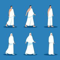 conjunto de caracteres planos de peregrinos muçulmanos vetor