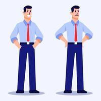 personagem plano de homem em pose confiante vetor