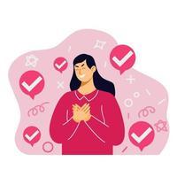 garota tímida tem ilustração de aprovação vetor