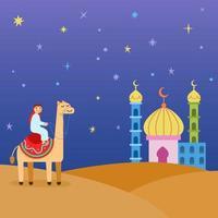 cartoony camel rider na ilustração do deserto vetor