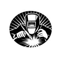 soldador tig soldagem vista frontal oval retro emblema preto e branco vetor