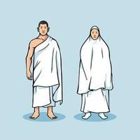 figura de casal em pé na peregrinação hajj vetor
