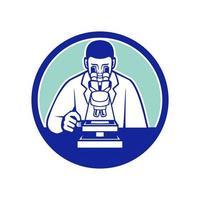 cientista olhando através do mascote do microscópio vetor