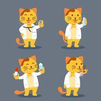 ilustração de personagem plana gato como médico de estimação vetor