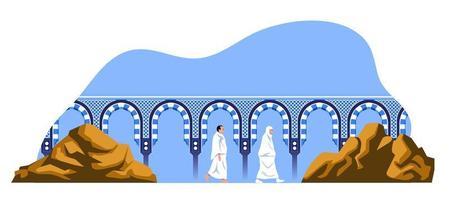 caminhando peregrinos hajj entre safa e monte marwa vetor