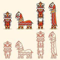 Conjunto de caracteres de dança do leão chinês em linha simples