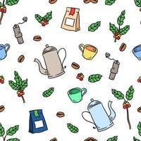 xícara de café e planta desenho padrão sem emenda vetor
