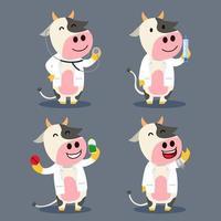 ilustração de personagem plana de vaca como médico de fazenda vetor