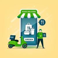 entregador segura uma sacola de comida com uma motocicleta. entrega de comida online no aplicativo móvel.