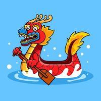 personagem de desenho animado de barco de dragão remando vetor