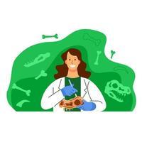 ilustração de personagem cientista mulher arqueologia vetor