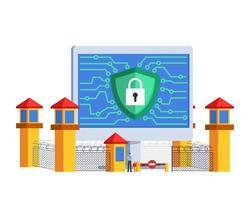 guarda oficial do conceito de segurança na internet vetor