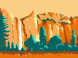 cachoeira na califórnia poster retro vetor