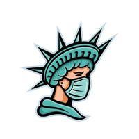 estátua da liberdade usando máscara cirúrgica mascote vetor