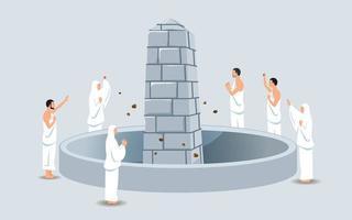 grupo de peregrinos hajj apedrejando o pilar do diabo vetor