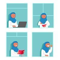 Mulher atividade muçulmana em casa olhando pela janela vetor
